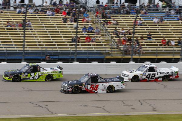 #24: Brett Moffitt, GMS Racing, Chevrolet Silverado and #54: Natalie Decker, DGR-Crosley, Toyota Tundra N29 Technologies LLC