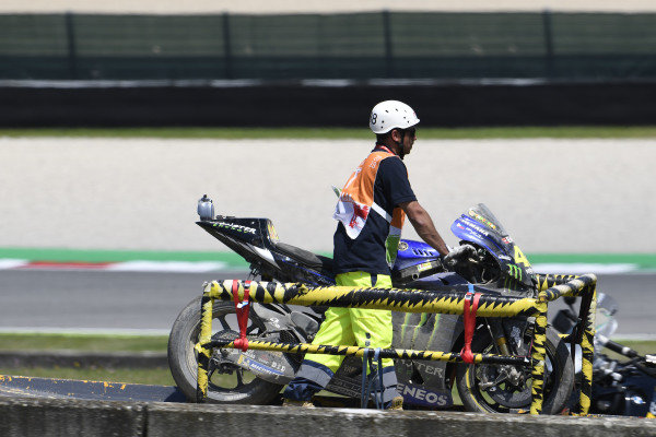 Valentino Rossi, Yamaha Factory Racing crashed bike.