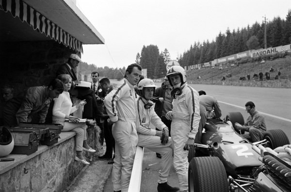 The Ferrari teammates of Ludovico Scarfiotti, Mike Parkes and Chris Amon in the pit lane.