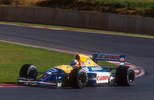 1992 South African Grand Prix.Kyalami, South Africa.28/2-1/3 1992.Nigel Mansell (Williams FW14B Renault) 1st position.Ref-92 SA 02.World Copyright - LAT Photographic