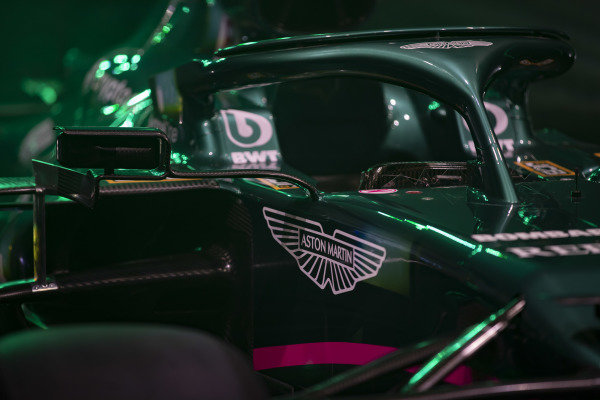 The Aston Martin logo on the AMR21