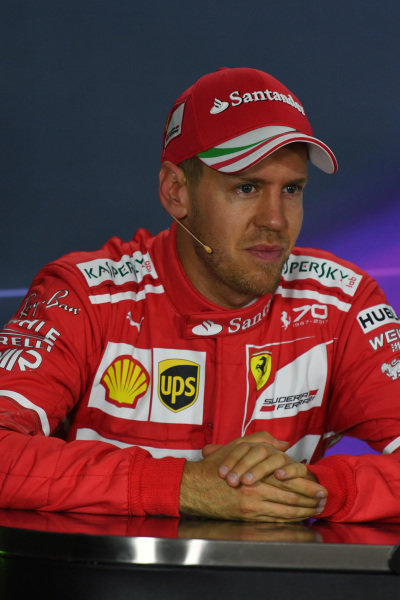 Sebastian Vettel (GER) Ferrari in th Press Conference at Formula One World Championship, Rd1, Australian Grand Prix, Qualifying, Albert Park, Melbourne, Australia, Saturday 25 March 2017.