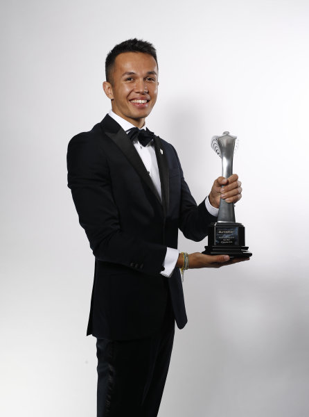 Alexander Albon with his Rookie of the Year Award