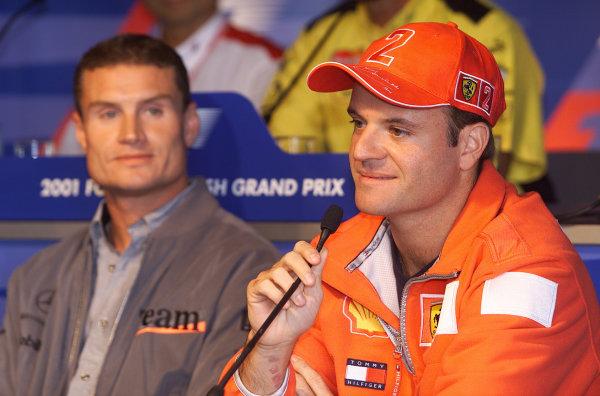 2001 British Grand PrixSilverstone, England. 12th July 2001.Thursday press conference - Rubens Barrichello, Ferrari F2001, portrait.World Copyright: Steve Etherington/LAT Photographicref: 16mb Digital Image