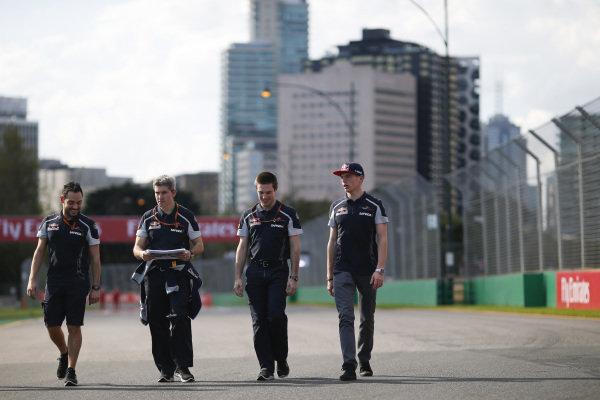 Max Verstappen (NDL) Scuderia Toro Rosso walks the track at Formula One World Championship, Rd1, Australian Grand Prix, Preparations, Albert Park, Melbourne, Australia, Wednesday 16 March 2016.