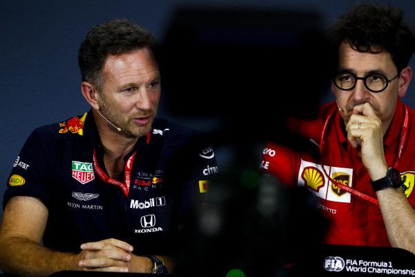 Christian Horner, Team Principal, Red Bull Racing, and Mattia Binotto, Team Principal Ferrari, in the team principals' Press Conference