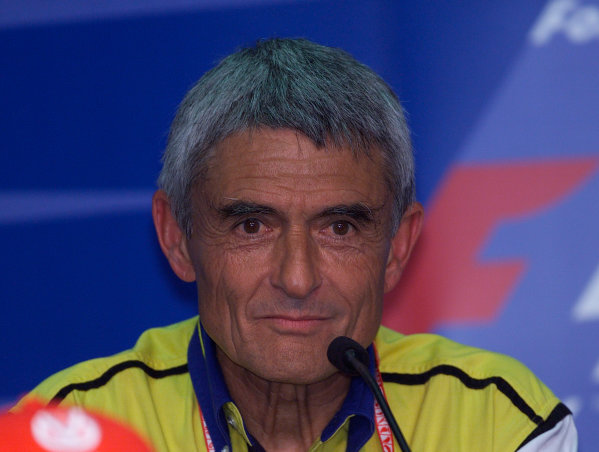 2001 Malaysian Grand Prix.Sepang, Kuala Lumpur, Malaysia. 16-18 March 2001.Pierre Dupasquier (Michelin Director of Worldwide Racing) in the Thursday press conference.World Copyright - Steve Etherington/LAT Photographic.ref: 18mb Digital Image