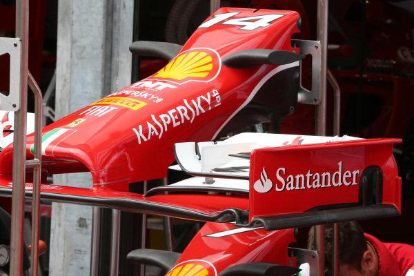 Ferrari F14 T nose and front wing. Formula One World Championship, Rd6, Monaco Grand Prix, Preparations, Monte-Carlo, Monaco, Wednesday 21 May 2014.