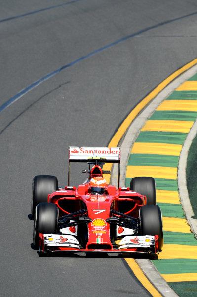 Kimi Raikkonen (FIN) Ferrari F14 T during the first practice session. Formula One World Championship, Rd1, Australian Grand Prix, Practice, Albert Park, Melbourne, Australia, Friday 14 March 2014.