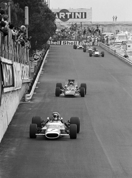 Lap 1 Jackie Stewart(GBR) leads form pole position in his Matra MS80 from Chris Amon(NZL) Ferrari 312 and Jean Pieree Beltoise(FRA) Matra MS80 Monaco GP, 18 May 1969