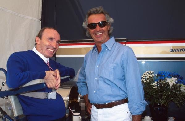 Rival Team Owners Frank Williams, left, and Flavio Briatore.