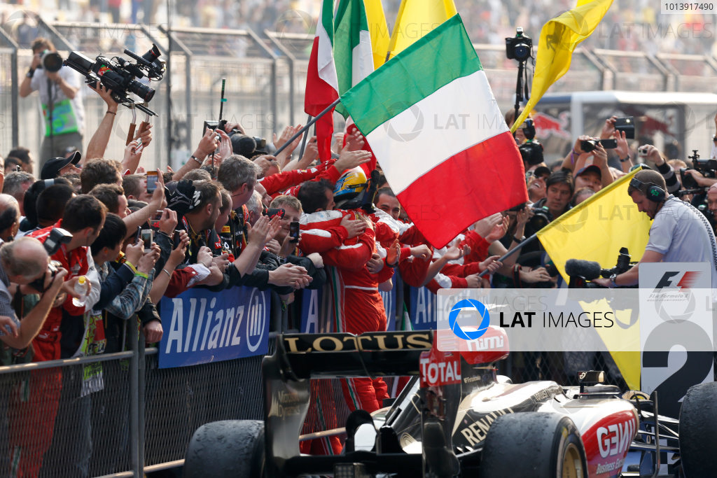 Shanghai International Circuit, Shanghai, China Sunday 14th April 2013 Fernando Alonso, Ferrari, 1st position, celebrate victory on arrival in Parc Ferme. World Copyright: Alastair Staley/LAT Photographic ref: Digital Image _R6T2354