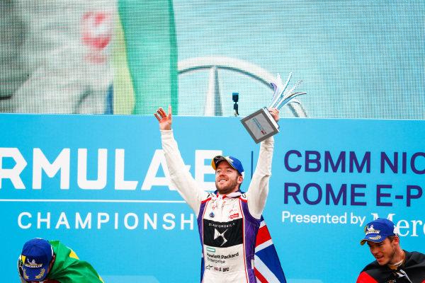 Sam Bird (GBR), DS Virgin Racing, DS Virgin DSV-03, ,wins the Rome ePrix, with Lucas Di Grassi (BRA), Audi Sport ABT Schaeffler, Audi e-tron FE04, in 2nd and Andre Lotterer (BEL), TECHEETAH, Renault Z.E. 17, in 3rd.