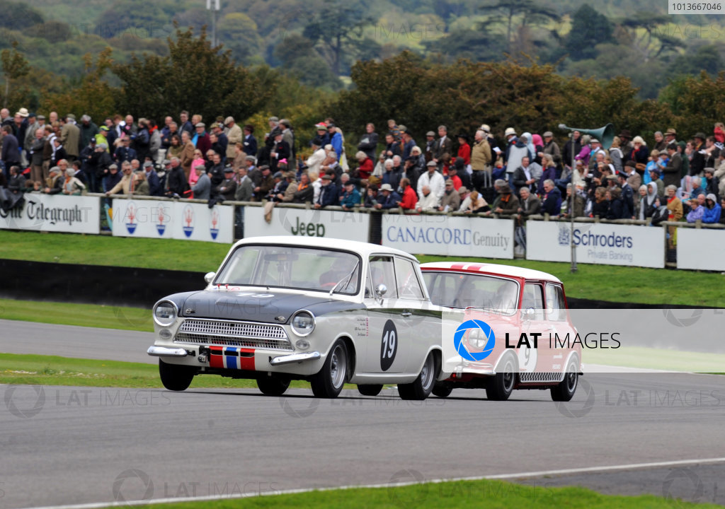 Goodwood Estate, West Sussex, 15th - 18th September 2011 St Mary's Trophy Race 2 Prince JOACHIM, Ford-Lotus Cortina Mk1, leads Jorg WEIDINGER, Austin Mini Cooper S. World Copyright:Jeff Bloxham/LAT Photographic Ref: Digital Image
