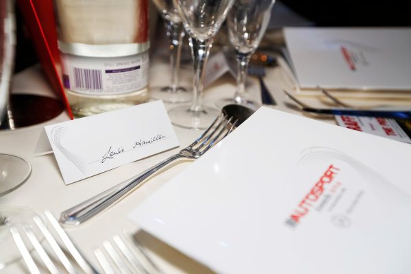 2014 Autosport Awards. Grosvenor House Hotel, Park Lane, London. Sunday 7 December 2014. Lewis Hamilton's table. World Copyright: Sam Bloxham/LAT Photographic. ref: Digital Image _14P3396
