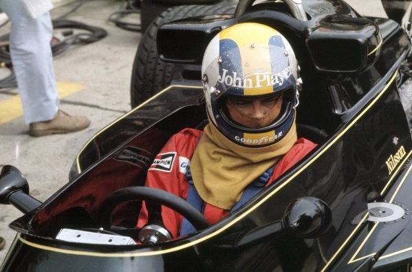 1976 German Grand Prix. Nurburgring, Germany. 30th July - 1st August 1976. Gunnar Nilsson (Lotus 77-Ford) 5th position, portrait. World Copyright: LAT Photographic. Ref: 35mm Colour Transparency.