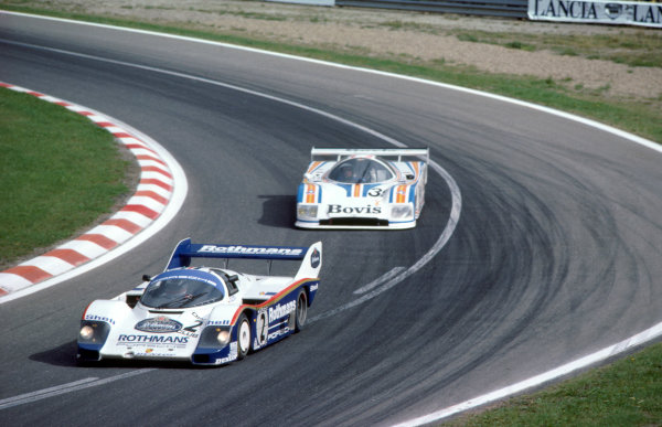 Spa-Francorchamps, Belgium. 4th September 1983. Rd 5.Derek Bell/Stefan Bellof (Porsche 956), 2nd position, leads Ray Mallock/Mike Salmon (Nimrod-Aston Martin C2B).World Copyright: LAT PhotographicRef: 83SPA04