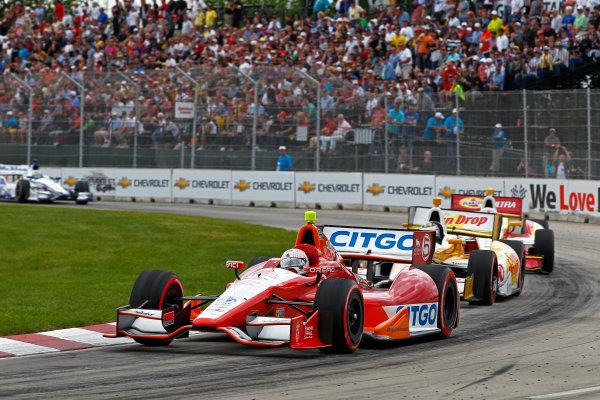 1-3 June, 2012, Detroit, Michigan, USAEJ Viso leads Ryan Hunter-Reay and Helio Castroneves.(c)2012, Phillip G. AbbottLAT Photo USA