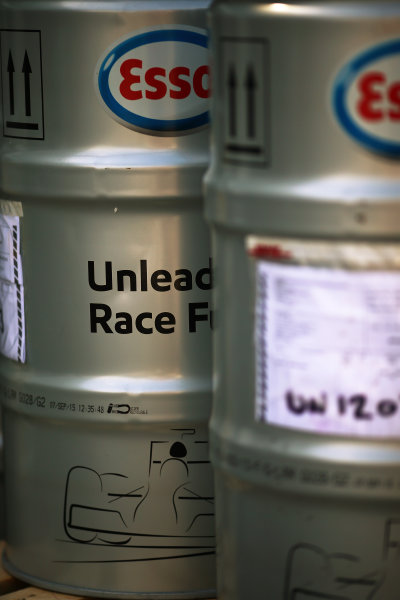 Albert Park, Melbourne, Australia. Wednesday 16 March 2016. Race fuel drums World Copyright: Andrew Hone/LAT Photographic. ref: Digital Image HONY9845