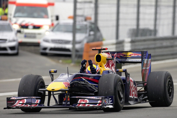 Mark Webber, Red Bull RB5 Renault celebrates his first victory.