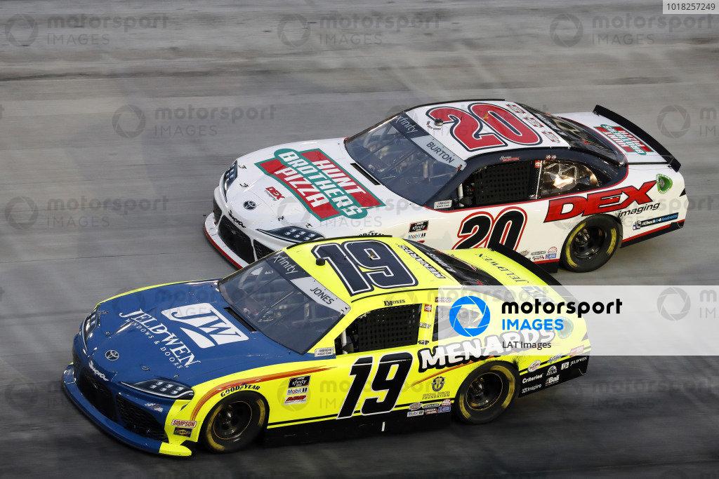 #19: Brandon Jones, Joe Gibbs Racing, Toyota Supra Menards/Jen-Weld and #20: Harrison Burton, Joe Gibbs Racing, Toyota Supra Hunt Brothers Pizza/DEX Imaging