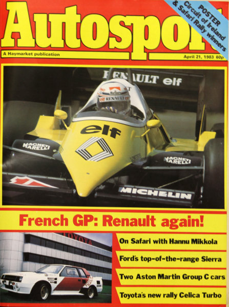 Cover of Autosport magazine, 21st April 1983