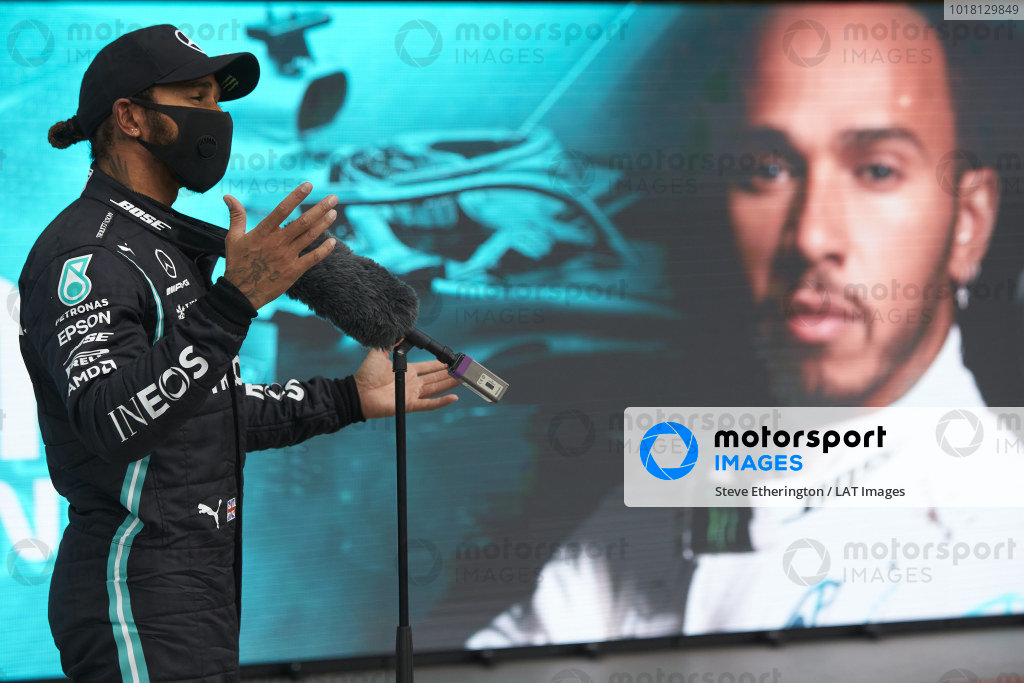 Pole sitter Lewis Hamilton, Mercedes-AMG Petronas F1 talks to the media in Parc Ferme