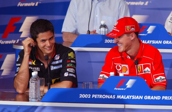 2002 Malaysian Grand Prix - Preview.Sepang, Malaysia. 14th March 2002.Alex Yoong and Michael Schumacher in the press conference.World Copyright: Etherington/LAT Photographicref: Digital Image Only