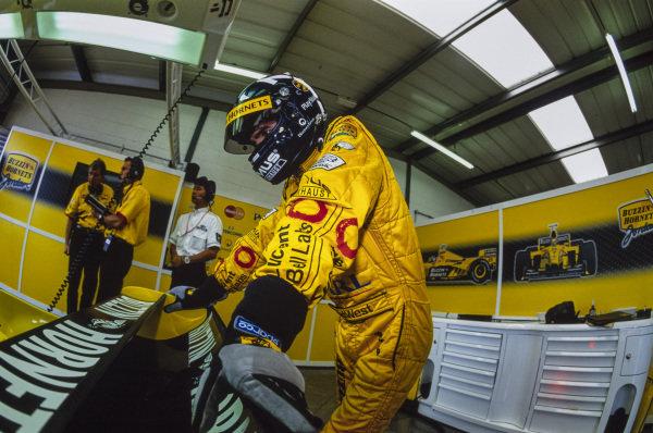 Damon Hill in the garage.