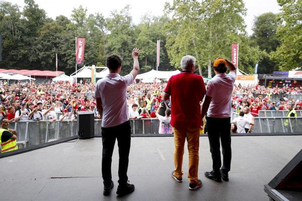 Lando Norris, McLaren and Carlos Sainz Jr, McLaren on stage in the fan zone