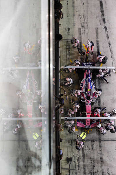 Lance Stroll, Racing Point RP19, makes a pit stop