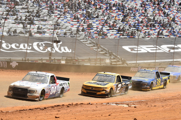 #04: Chase Briscoe, Roper Racing, Ford F-150 TexaCon Cut Stone/Huffy, #2: Sheldon Creed, GMS Racing, Chevrolet Silverado Chevy Accessories