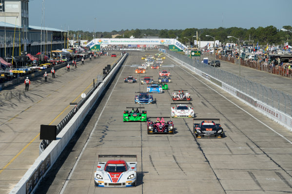 12-15 March, 2014, Sebring, Florida, USA #5, Chevrolet, Corvette DP, P, Joao Barbosa, Christian Fittipaldi, Sebastien Bourdais lead the field at the start of the race. @2014, Richard Dole LAT Photo USA