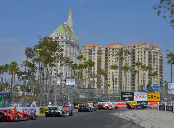 11-13 April, 2014, Long Beach, California USA #16 Oriol Servia Rahal Letterman Lanigan Racing leads pack of cars into hairpin ©2014, Dan R. Boyd Lat Photo USA