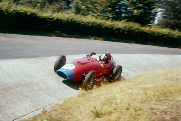 Nurburgring, Germany.2-4 August 1957.Mike Hawthorn (Lancia-Ferrari D50 801) 2nd position.Ref-57 GER 04.World Copyright - LAT Photographic