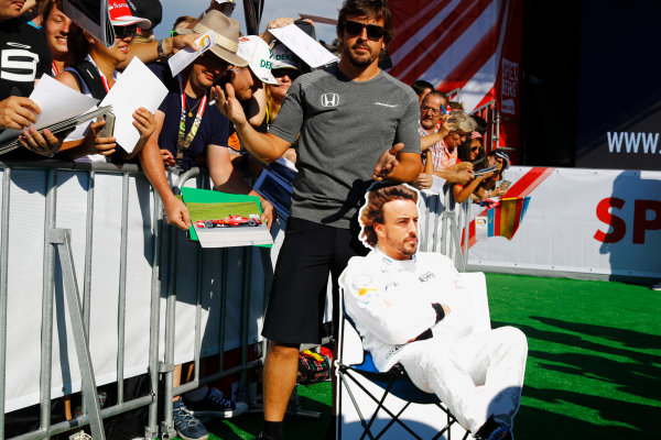 Red Bull Ring, Spielberg, Austria. Thursday 06 July 2017. Fernando Alonso, McLaren, poses with his cardboard cutout. World Copyright: Steven Tee/LAT Images ref: Digital Image _O3I4602