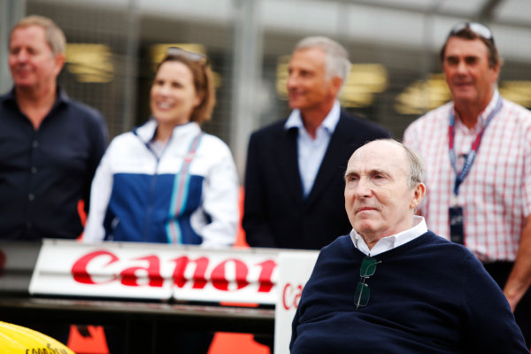 Williams 40 Event Silverstone, Northants, UK Friday 2 June 2017. Sir Frank Williams, poses in front of Martin Brundle, Claire Williams, Riccardo Patrese and Nigel Mansell. World Copyright: Joe Portlock/LAT Images ref: Digital Image _L5R0615