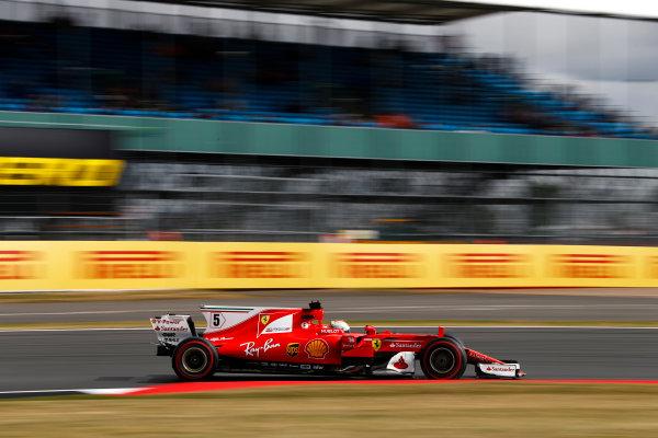 Silverstone, Northamptonshire, UK.  Friday 14 July 2017. Sebastian Vettel, Ferrari SF70H. World Copyright: Glenn Dunbar/LAT Images  ref: Digital Image _31I2990