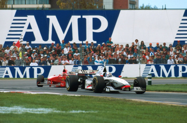 Albert Park, Melbourne, Australia.7-9 March 1997.David Coulthard (McLaren MP4/12-Mercedes) leads Michael Schumacher (Ferrari F310B) at turn 15. They fininshed in 1st and 2nd positions respectively.Ref-97 AUS 01.World Copyright - LAT Photographic