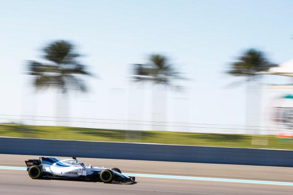 Yas Marina Circuit, Abu Dhabi, United Arab Emirates. Wednesday 29 November 2017. Sergey Sirotkin, Williams FW40 Mercedes. World Copyright: Joe Portlock/LAT Images  ref: Digital Image _R3I5238