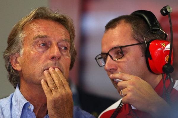 (L to R): Luca di Montezemolo (ITA) Ferrari President and Stefano Domenicali (ITA) Ferrari General Director. Formula One World Championship, Rd12, Italian Grand Prix, Qualifying, Monza, Italy, Saturday 7 September 2013.