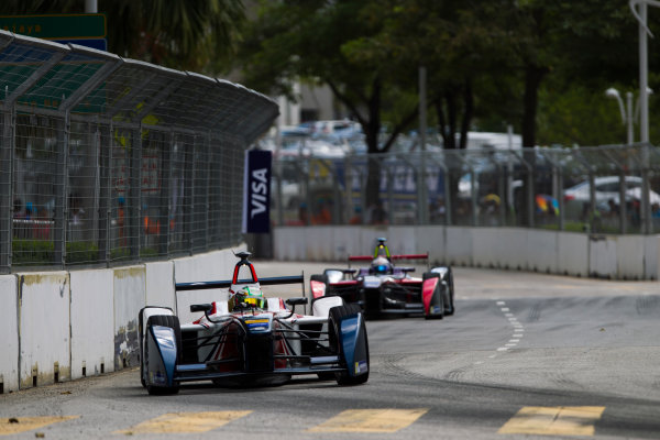 2015/2016 FIA Formula E Championship. Putrajaya ePrix, Putrajaya, Malaysia. Saturday 7 November 2015. Race Nathanael Berthon (FRA), Team Aguri - Spark SRT_01E leads Sam Bird (GBR), DS Virgin Racing DSV-01  Photo: Sam Bloxham/FIA Formula E/LAT ref: Digital Image _G7C9392