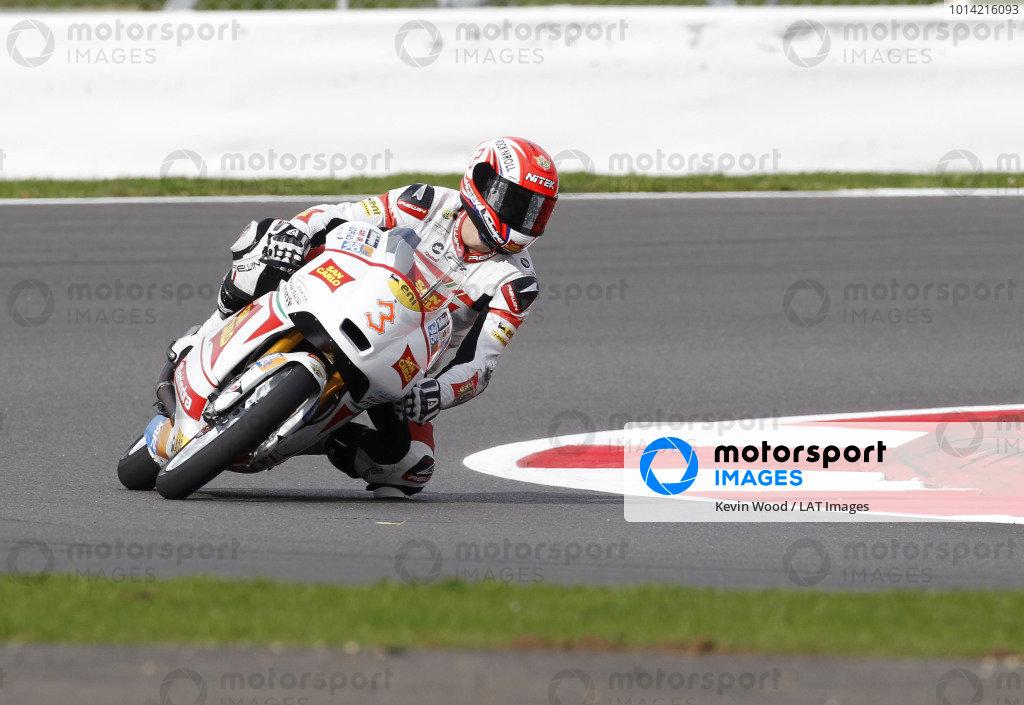 2014 Moto3 Championship  British Grand Prix.  Silverstone, England. 29th - 30st August 2014.  Matteo Ferrari, Mahindra.  Ref: _W1_5326. World copyright: Kevin Wood/LAT Photographic