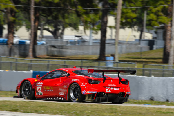 2017 WeatherTech SportsCar Championship - IMSA February Test Sebring International Raceway, Sebring, FL USA Friday 24 February 2017 62, Ferrari, Ferrari 488 GTE, GTLM, Juan Pablo Montoya driving in afternoon practice session. World Copyright: Richard Dole/LAT Images ref: Digital Image RD_2_17_175