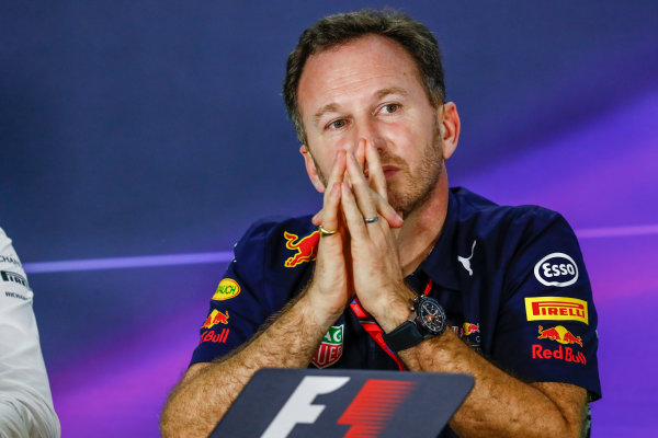 Albert Park, Melbourne, Australia. Friday 24 March 2017. Christian Horner, Team Principal, Red Bull Racing, in the Team Principals Press Conference. World Copyright: Sam Bloxham/LAT Images ref: Digital Image _W6I2439