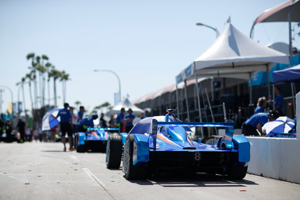 2014/2015 FIA Formula E Championship. Antonio Felix Da Costa (POR)/Amlin Aguri - Spark-Renault SRT_01E car sits in the pits. Long Beach ePrix, Long Beach, California, United States of America. Saturday 4 April 2015  Photo: Adam Warner/LAT/FE ref: Digital Image _L5R7072