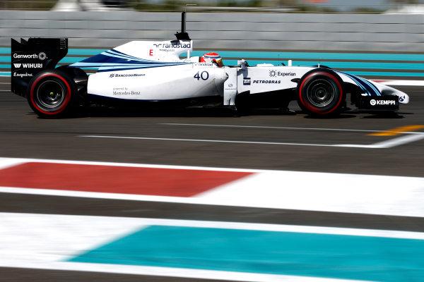 Yas Marina Circuit, Abu Dhabi, United Arab Emirates. Wednesday 26 November 2014. Felipe Nasr, Williams FW36 Mercedes.  World Copyright: Glenn Dunbar/LAT Photographic. ref: Digital Image _W2Q8379