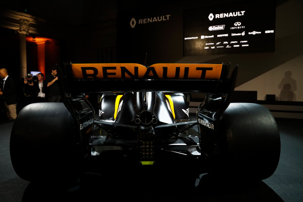 Renault  RS17  Formula 1 Launch. The Lindley Hall, London, UK. Tuesday 21 February 2017. The R.S.17 is launched. World Copyright: Glenn Dunbar/LAT Images Ref: _X4I9883
