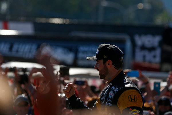 2017 Verizon IndyCar Series Toyota Grand Prix of Long Beach Streets of Long Beach, CA USA Sunday 9 April 2017 James Hinchcliffe celebrates on the podium World Copyright: Phillip Abbott/LAT Images ref: Digital Image lat_abbott_lbgp_0417_15107