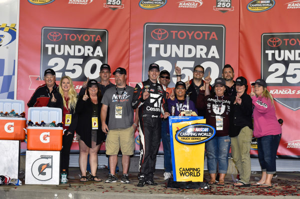 NASCAR Camping World Truck Series Toyota Tundra 250 Kansas Speedway, Kansas City, KS USA Friday 12 May 2017 Kyle Busch, Cessna Toyota Tundra celebrates his win in Victory Lane World Copyright: Nigel Kinrade LAT Images ref: Digital Image 17KAN1nk07189